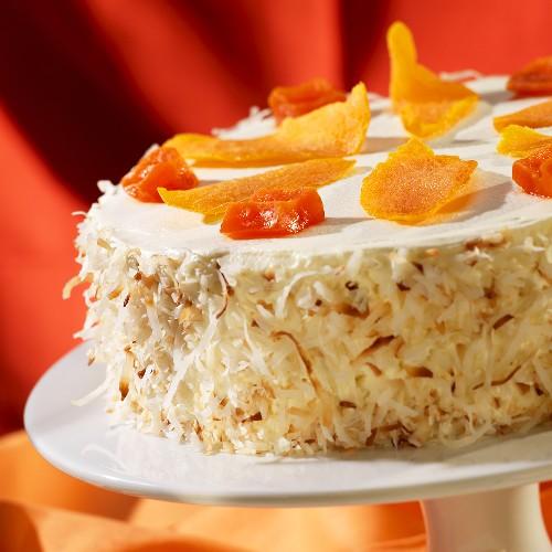 Pineapple Cream Cake with Dried Mango, Papaya and Toasted Coconut