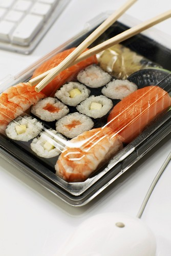 Sushi lunch at work place