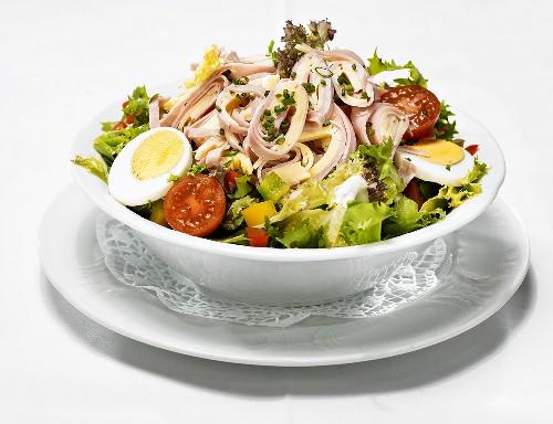 Ham, cheese and egg salad