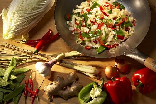 Stif-fried vegetables and vegetable still life