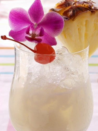 Caribbean drink with coconut milk and pineapple