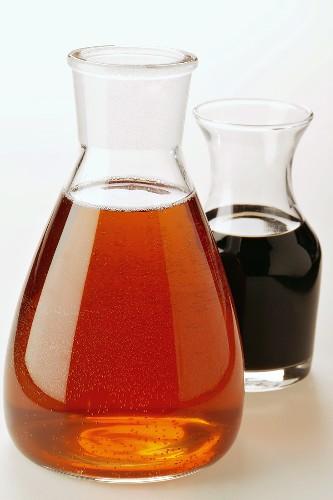 Sesame oil and balsamic vinegar in carafes