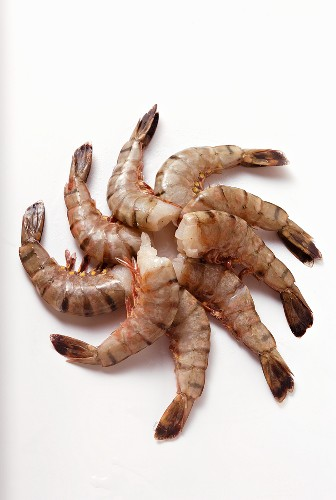 Several king prawns without heads