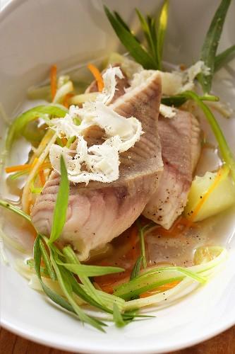 Catfish in herb stock with horseradish