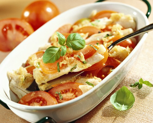 Cod and tomato bake with basil