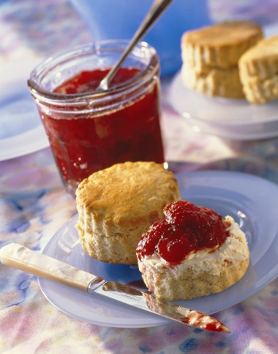 Scones with clotted cream and strawberry jam