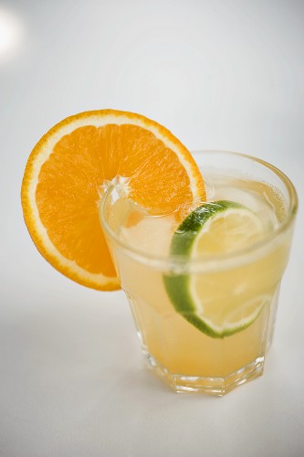 Aperitif with orange and lime