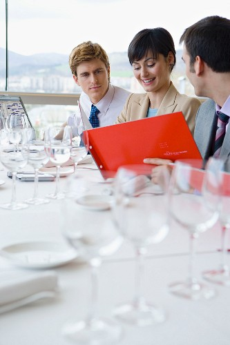 Colleagues at a business lunch