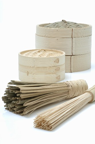 Bamboo baskets and bamboo whisks
