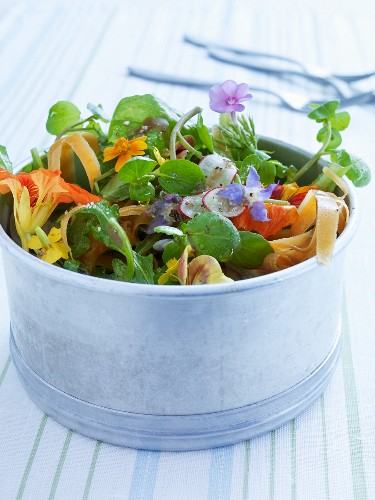 Spring salad with nasturtiums and violets