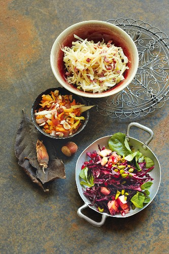 A trio of autumnal raw vegetable salads