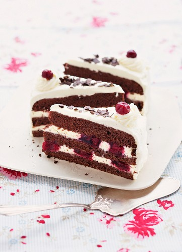 Three slices of Black Forest Gateaux