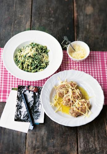 Potato dumplings and Tyrolean spinach egg noodles (Austria)
