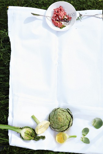 Angus beef tartar and fresh artichokes on a cloth in the grass