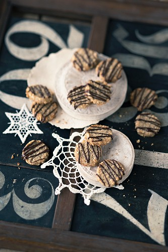 Buckwheat and almond biscuits with chocolate glaze