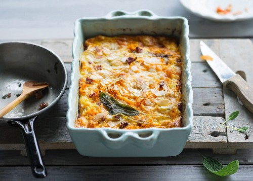 Pumpkin bake with bacon and flaked almonds
