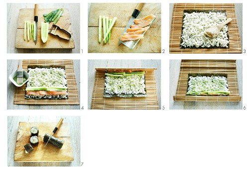 Salmon and cucumber sushi being prepared