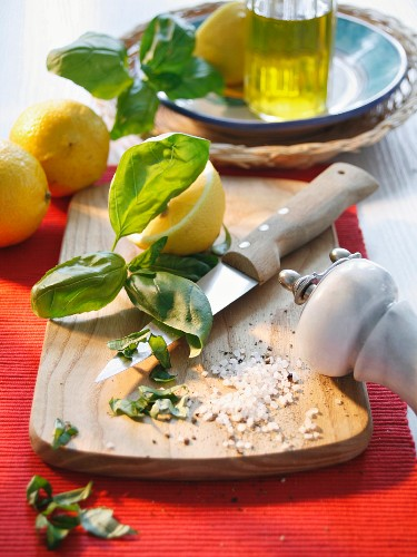 Ingredients for flavoured oil with basil