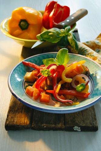 Peperonata (oven-roasted peppers, Italy)