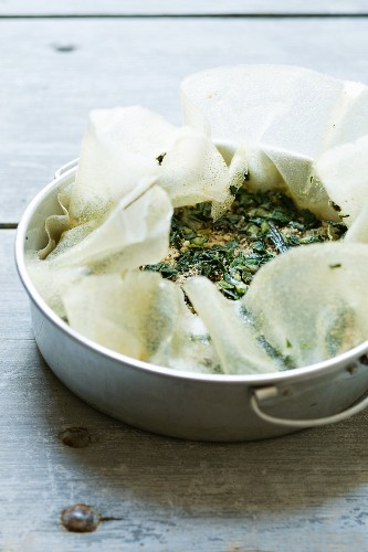 Pastilla with chard, not yet baked