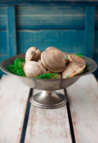 Fresh Clams in a Metal Footed Bowl