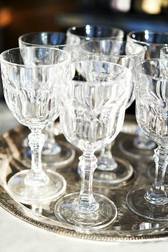 Aperitif Glasses on a Silver Tray