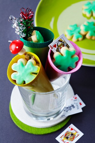 Cones filled with lucky biscuits as gifts