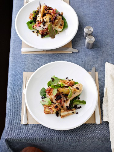 Pheasant with parsnip salad and barberry dressing