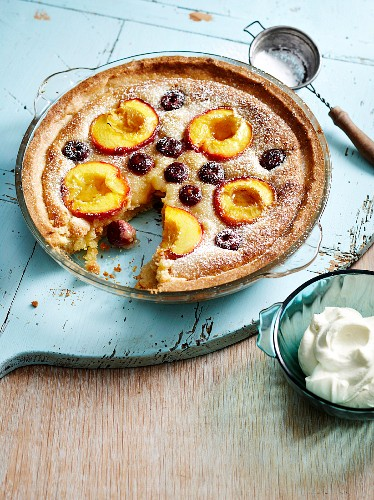 A nectarine and cherry tart