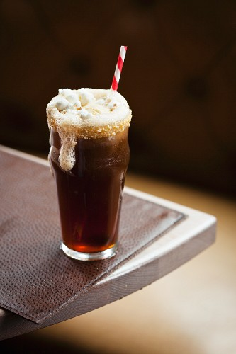 Root Beer Float with Sugared Rim, Popcorn and a Straw