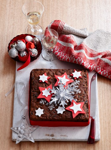 Christmas cake decorated with fondant stars