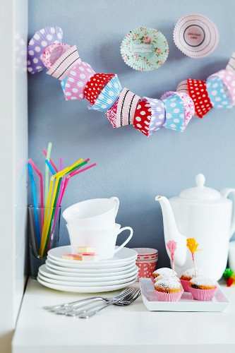 Garland and wall decorations made from paper cake cases