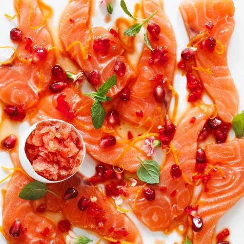 Salmon sashimi with pomegranate seeds and blood orange granita for Easter