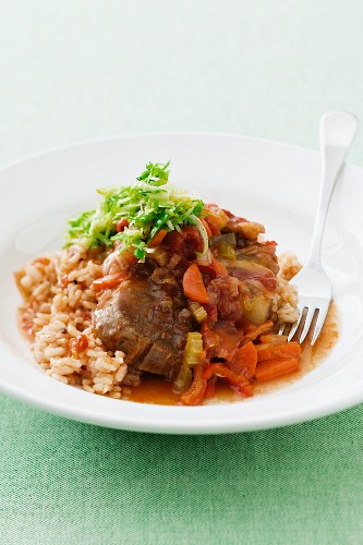 Osso buco alla milanese (pot-roasted veal shank, Italy)