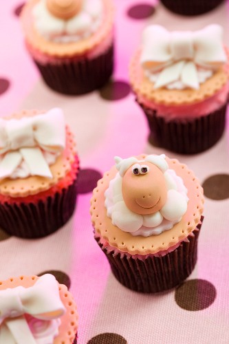 Cupcakes Decorated With Sheep and Bows