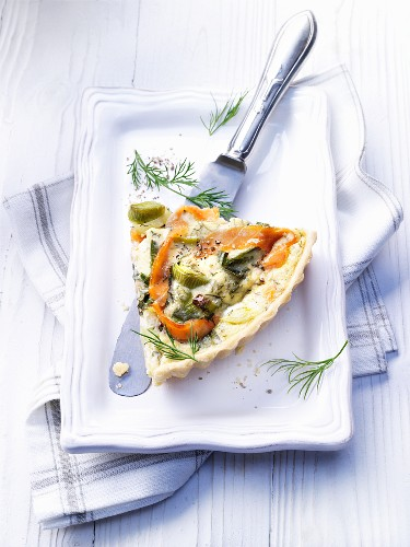A slice of salmon quiche