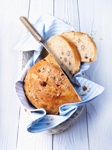 Spelt and nut bread in a bread basket