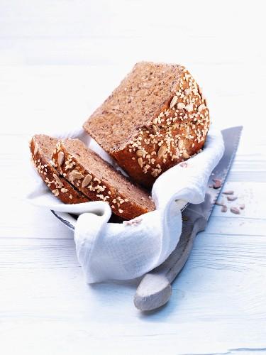 Healthy wholegrain bread in a bread basket