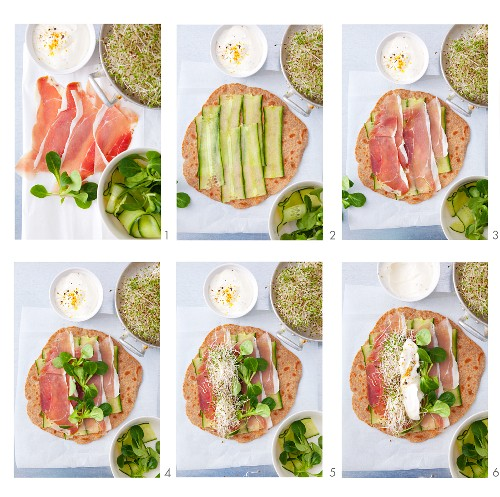 Step: Tortilla wraps with Parma ham, cucumber, lambs lettuce, sprout and yoghurt dressing