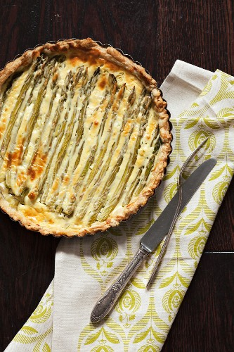 Whole Asparagus Tart with Napkin, Fork and Knife
