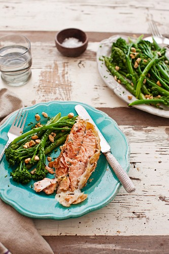 Salmon en croute with a broccolini and asparagus salad