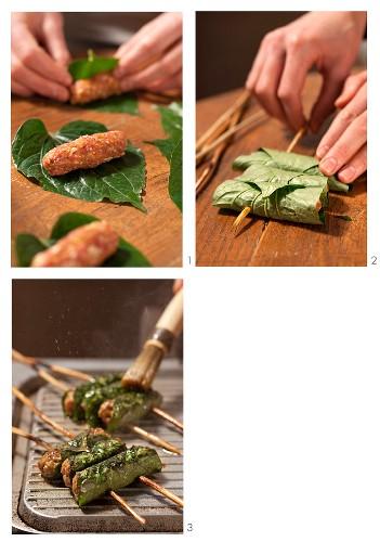 Bo La Lot (beef in betel leaves, Vietnam) being prepared