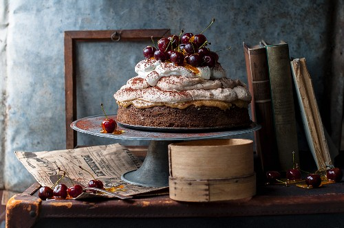 Chestnut mousse cake with caramel-coated cherries