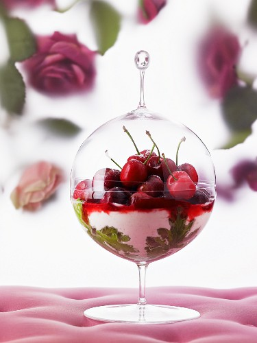 Cherry and geranium dessert