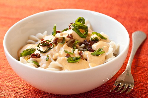 "Gluten Free Brown Rice Pasta with Vegan ""Cream"" Sauce"