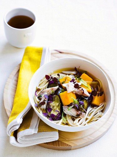 Udon noodles with steamed aubergine and smoked mackerel