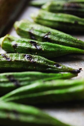 Grilled Okra; Close Up