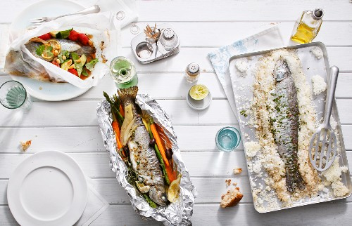 Trout, prepared in various ways (in baking parchment, in foil, in a salt crust)