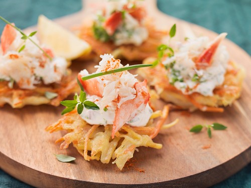 Carrot fritters with lobster