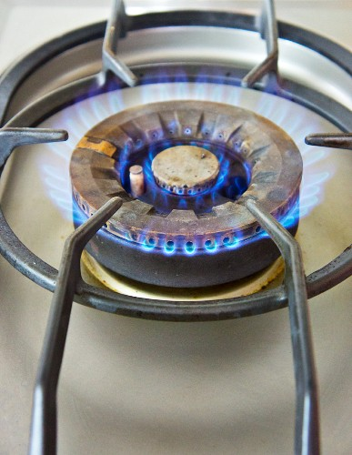 A gas ring on the hob (close-up)